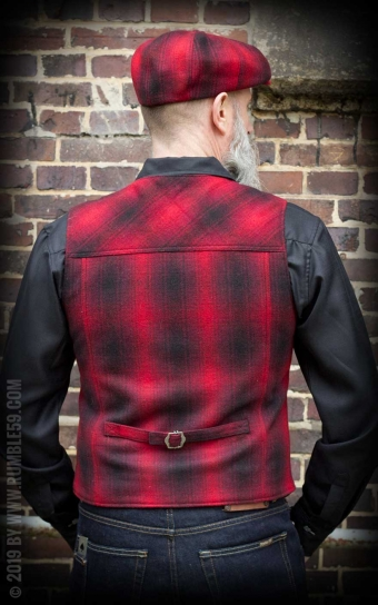 Vintage Vest Boston - à carreaux rouge/noir