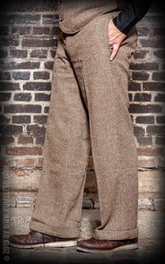 Vintage Loose Fit Pants Sacramento - Herringbone beige/brown