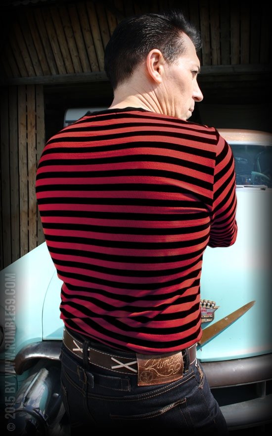abwechslungsreiche neueste Designs bester Preis retro Ringel-Longsleeve - schwarz/ rot