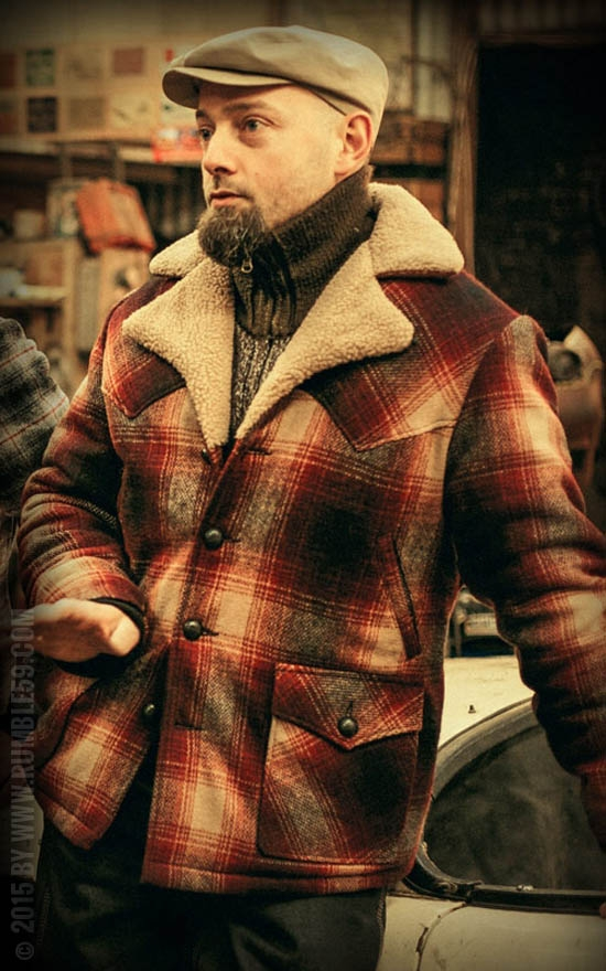 Rumble59 For Jeans Jackets Clothing, Brown Check Winter Coat