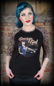 Ladies Raglan Shirt with leo patch - Garage Gal