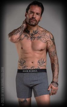 Boxershorts RnR Until I die - grau/schwarz