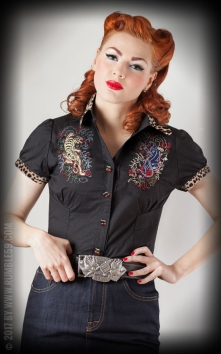 Chemise Born to be wild - leo patch