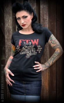Ladies Scoop Neck Shirt - Not born to follow