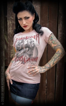Ladies T-Shirt - Saint or Sinner - rose