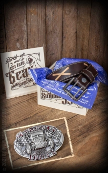 Set Ledergürtel Brando braun + Buckle Strong and Dirty