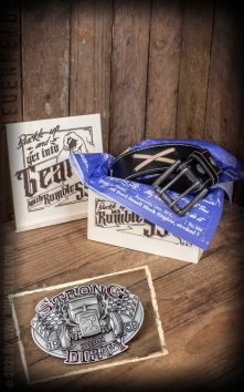 Set Leather belt Brando black + Buckle Strong and Dirty