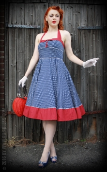 Neckholder Petticoat Dress Sweet Polkadots - darkblue