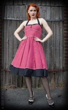 Neckholder Petticoat Dress Sweet Polkadots - wine red