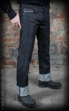 Raw Black Selvage Denim - Burning Blacktop