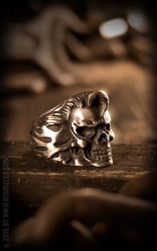 Bague acier affiné Rockabilly Skull