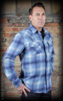 Flannel Shadow Plaid Shirt, blue