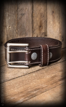 Leather belt with double-buckle, brown