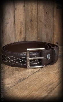 Leather Belt Diamond - brown/black