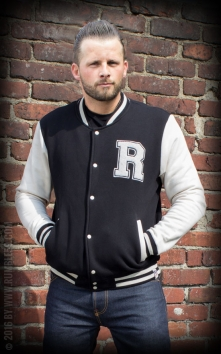 Male Sweat College Jacket - black/offwhite