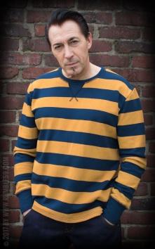 Sweatshirt - gestreift blau/senf