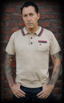 Knitted Polo Shirt Redmond - beige