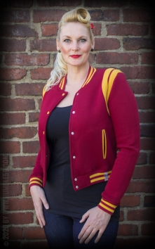 Ladies Sweat College Jacke - bordeaux/senf