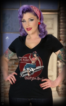 Ladies V-Neck Shirt Hotrod Bettys Spark Plugs