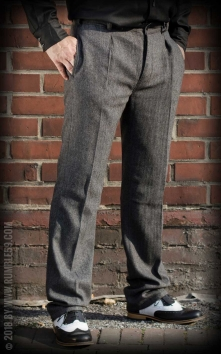 Vintage Slim Fit Pants Pasadena - Herringbone grey/black