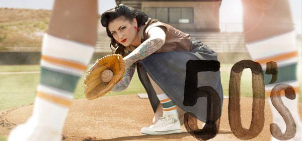 Frau beim Baseball